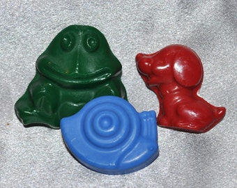 Frog, Snail, Puppy Crayons, Total of 12 Bags, Total of 36 Crayons. Boy or Girl Kids Unique Party Favors, Crayons