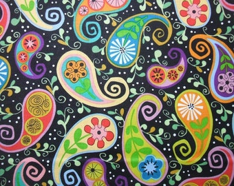 Cutting Garden Colorful Paisley Black Andover Fabric Yard