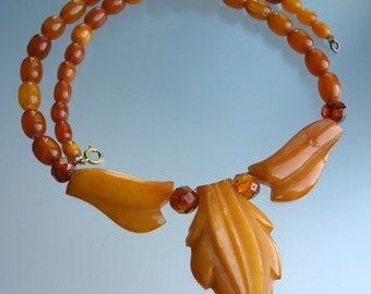 Antique Carved Butterscotch Amber Necklace