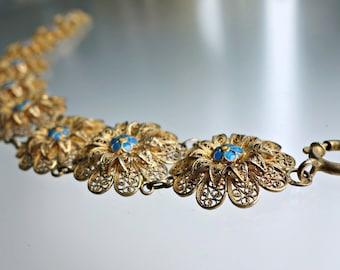 Sterling Gold Enamel Filigree Bracelet Portugal