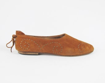 80s Studded Leather Flats Butter Soft Leather Brown Suede Flats Southwestern Pointy Toe Flats Womens Slip On Shoes Lace Up Back Size 9