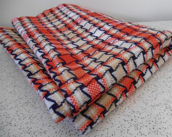 checks in navy, red and beige...vintage bonded acrylic suiting fabric yardage