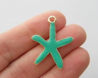 4 Starfish green charms light gold tone GC43