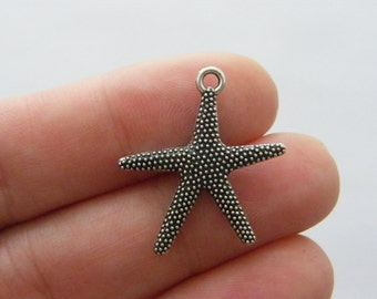 BULK 50 Starfish charms antique silver tone FF296