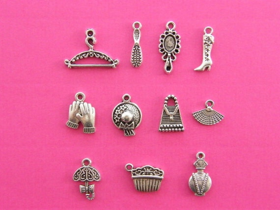 Victorian Lady Charms.Collection- 11 different antique silver tone charms