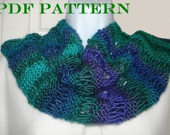 PDF Pattern for Knit Infinity Scarf of DK or Worsted Yarn with Variations