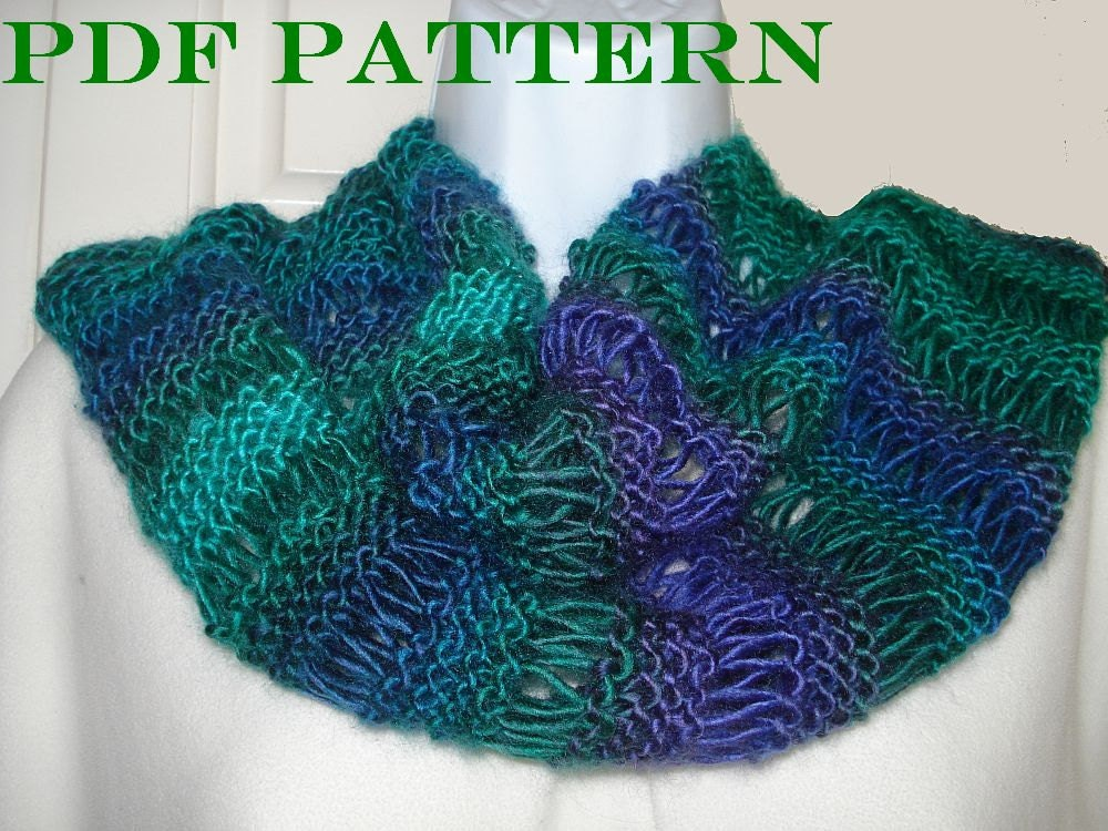 pdf pattern for knit infinity scarf of dk or worsted yarn with. Black Bedroom Furniture Sets. Home Design Ideas