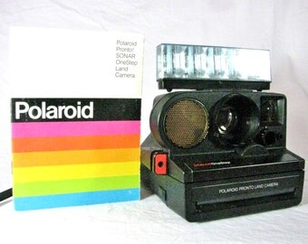 SX-70 Polaroid Pronto Sonar One Step Instant Camera - with Flashbar and Original Owner's Manual