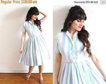ON SALE 1950s Dress / 50s Dress / 1950s Full Skirt Pastel Ombre Dress