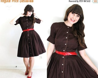 ON SALE 50s Dress / 1950s Dress / Brown 50s Dress