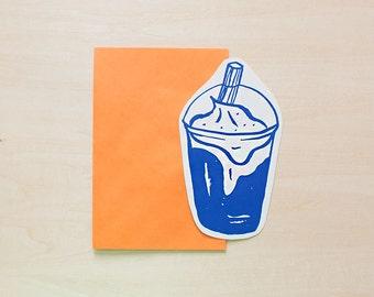 Milkshake - Greeting Card, Blank Card, Holiday Card, Blank Greeting Card, Handmade Card, Shape Card