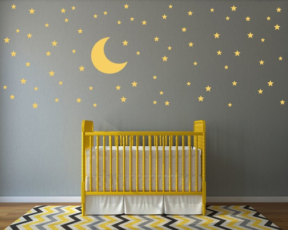 Moon and stars wall decal set 74 star decals moon wall for Amazing look with moon and stars wall decals