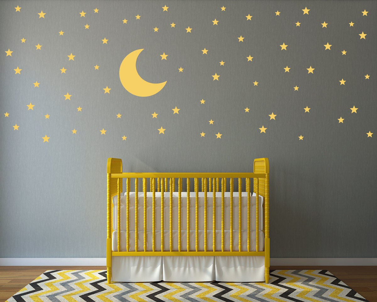 moon and stars wall decal set 74 star decals moon wall. Black Bedroom Furniture Sets. Home Design Ideas