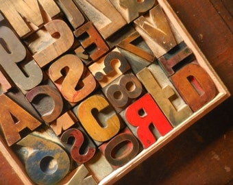 Vintage Printer Block Letters Wall Art