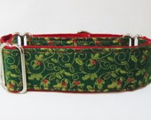 """Christmas Martingale Collar, Greyhound collar, Red and Green Collar, Holly and Ivy, Italian Greyhound, Whippet Collar, 1.5, 2"""" Martingale"""