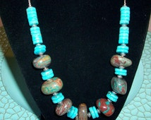 Artisan Statement Terra Jasper and Turquoise Disks Necklace on Silver   Free Shipping in the USA