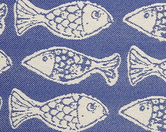 Covington woven FISH, cobalt blue, white, Indoor Outdoor upholstery fabric, 36-24-41-1015