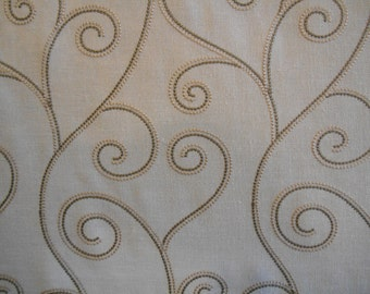 Taupe Khaki SCROLL on IVORY LINEN Drapery Upholstery Fabric,11-22-27-0413