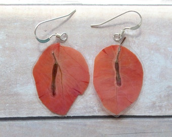 Orange Bougainvillea Earrings - Made from Real Pressed Flowers - Sterling Silver Earrings - Bridesmaids Gifts - Bridal Party Jewelry