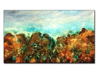 Original landscape Abstract painting Contemporary Gallery Art On Canvas By New Wave Art Gallery 60x36