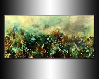 Original Contemporary Modern Abstract Painting On Canvas By Henry Parsinia 48 x24