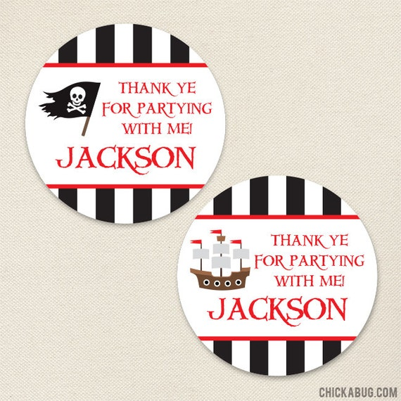 Pirate Party Favor Stickers - Sheet of 12 or 24