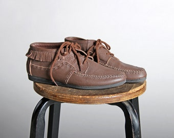 Vintage Leather Fringe Chukka Boots - Brown Loafers Flat Moccasin Lace Up Casual Summer Shoe Boot Southwest Boho Hippie - Size 8
