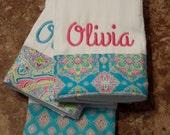 Burp cloth set// personalized burp cloth set// baby girl burp cloth set//baby shower gift//baby girl gift
