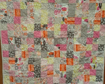 Handmade Patchwork Baby Girl Quilt by Quiltytherapy