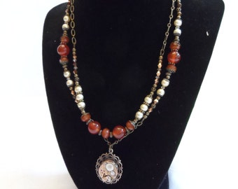 Timed Cameo Necklace - Brass, Pearl, Swarovski and Carnelian