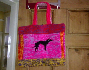Pair of Greyhound Tote Bags Knitting Pattern Free UK postage