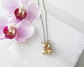 Four Leaf Clover Charm,Gold Charm Necklace,Lucky Charm Jewelry,Bridesmaid Gifts,Gold Charm,Gift for Her,Mothers Day Gift,Multiple Charms