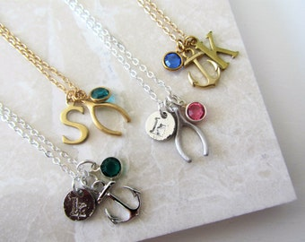 Personalised Charm Necklace, Anchor, Wishbone, Birthstone Necklace