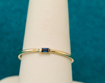 Natural Blue Sapphire Baguette Cut 14kt gold Stacking Ring & September Birthstone