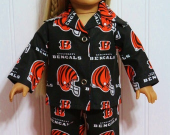 "FOOTBALL Cincinnati Bengals Pajamas Fits 18"" Dolls  Proudly Made in America by mamastwinsees"