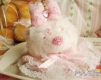 Hime Gyaru Pincess Girly Romantic Cute Kawaii Ruffley Lacey Kitty Keychain