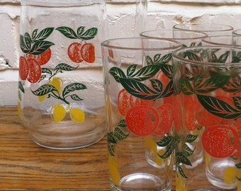 Vintage Jug/Pitcher with 6 Matching Glasses