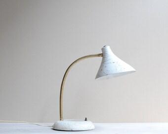 Mid Century Modern White Gooseneck Desk Lamp - Squiggle Splatter Paint