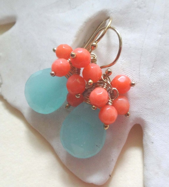 Gemstone earrings, aqua gemstone earrings, orange cluster, aqua and orange earrings aqua chalcedony earrings coral cluster earrings handmade