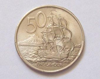 New Zealand 50c 1967 HMS Endeavour Ship