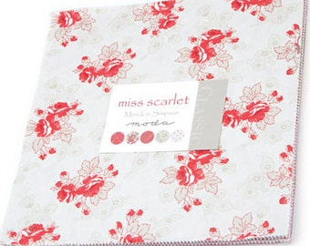 "Miss Scarlet Layer Cake by Minick & Simpson for Moda Fabrics 14810LC 42 10"" Fabric Squares"