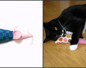 Organic catnip, stuffed mouse, cat toy, blue pink, large mouse, oversize mouse, cat gift, catnip mouse, fabric mouse