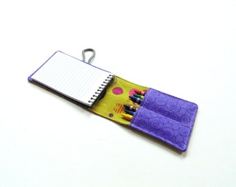 Kids crayon roll, travel activity, coloring crayons and pad, travel toy, party favor, crayon wallet, olive purple
