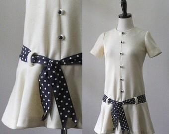 Vintage 1960s Mini Dress XS Drop Waist Mini Dress Mod Mini Dress with Sash Womens Off White Size Extra Small