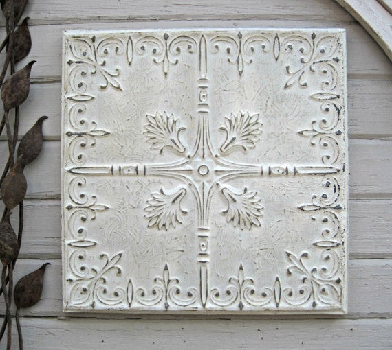 White Tin Wall Decor : Framed ceiling tin tile antique by driveinservice on etsy