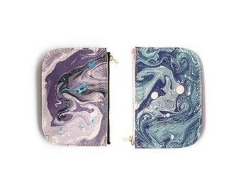 Tonala Pequena Zip Wallet - Purple Mix or Slate Marble