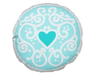 Pastel Jammy Heart Printed Cushion - Mint / Biscuit Cushion - Cookie Pillow