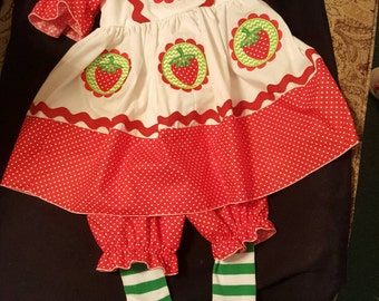 Boutique OOAK Scallop Frame Strawberry Shortcake Dress Set