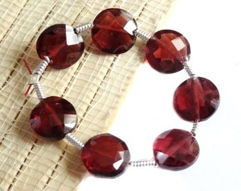 Faceted Garnet Coins , January Birthstone, 7.20 - 7.76 mm 7 BEADS, Natural Garnet Beads, SMALL GARNET Gemstones