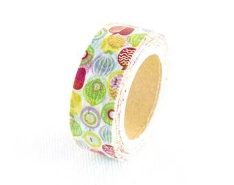 MiriKulo:rer Illustration Series Japanese Washi Masking Tape / Textile Fruits for labeling, scrapbooking, packaging